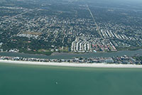 North Indian Shores Florida the narrows.  Aerial views of the beach front properties for sale and beachfront single family homes, hotels, motels and apartment buildings listed on the mls for sale.